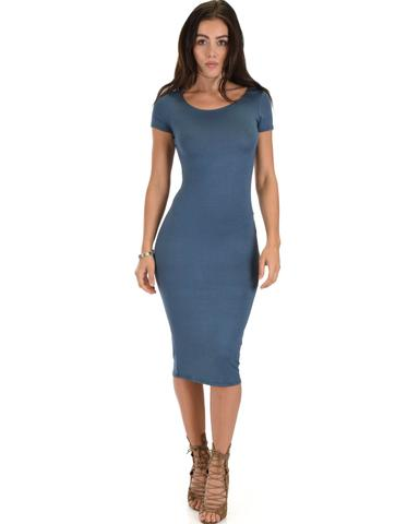 Lyss Loo Along The Lines Bodycon Teal Midi Dress - Jeanetteshus
