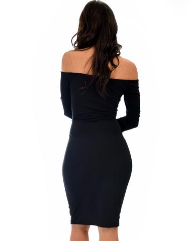 Lyss Loo Bold Move Off The Shoulder Bodycon Black Midi Dress - Jeanetteshus