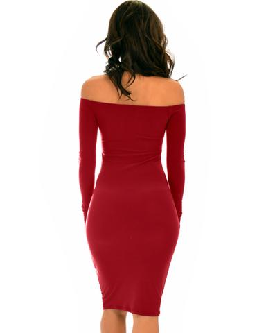 Lyss Loo Bold Move Off The Shoulder Bodycon Burgundy Midi Dress - Jeanetteshus