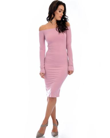 Lyss Loo Bold Move Off The Shoulder Bodycon Mauve Midi Dress - Jeanetteshus