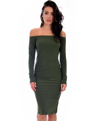 Lyss Loo Bold Move Off The Shoulder Bodycon Olive Midi Dress - Jeanetteshus