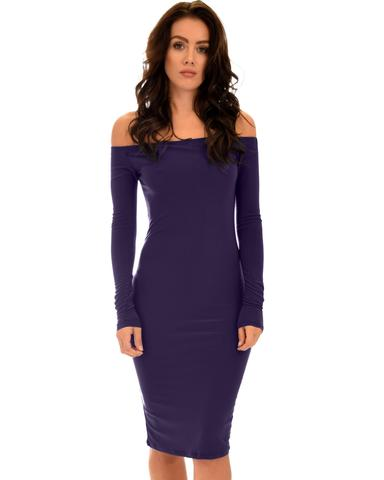 Lyss Loo Bold Move Off The Shoulder Bodycon Purple Midi Dress - Jeanetteshus