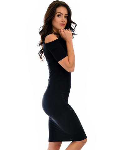 Lyss Loo Love Me Completely Cold Shoulder Black Bodycon Midi Dress - Jeanetteshus