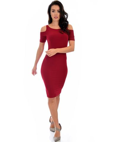 Lyss Loo Love Me Completely Cold Shoulder Burgundy Bodycon Midi Dress - Jeanetteshus