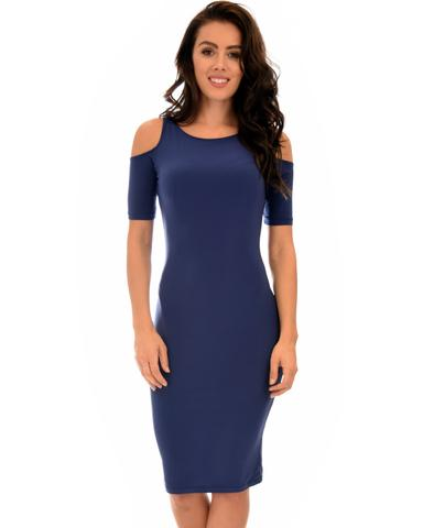 Lyss Loo Love Me Completely Cold Shoulder Navy Bodycon Midi Dress - Jeanetteshus