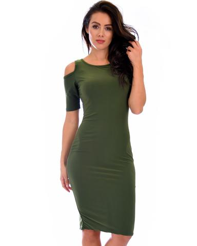 Lyss Loo Love Me Completely Cold Shoulder Olive Bodycon Midi Dress - Jeanetteshus