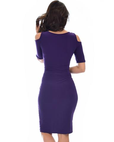 Lyss Loo Love Me Completely Cold Shoulder Purple Bodycon Midi Dress - Jeanetteshus