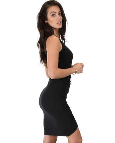 Lyss Loo Take Me Out Ruched Bodycon Black Midi Dress - Jeanetteshus
