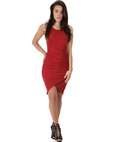 Lyss Loo Take Me Out Ruched Bodycon Burgundy Midi Dress - Jeanetteshus