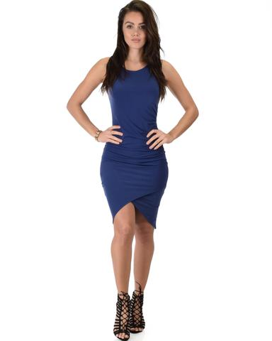 Lyss Loo Take Me Out Ruched Bodycon Navy Midi Dress - Jeanetteshus