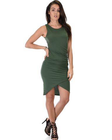Lyss Loo Take Me Out Ruched Bodycon Olive Midi Dress - Jeanetteshus