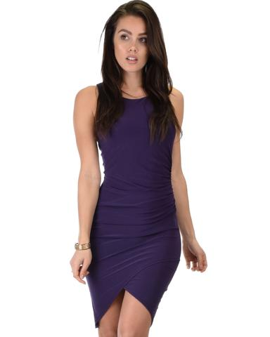 Lyss Loo Take Me Out Ruched Bodycon Purple Midi Dress - Jeanetteshus