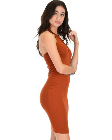 Lyss Loo Essential Spice Rust Bodycon Dress - Jeanetteshus