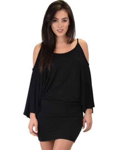 Lyss Loo Game Changer Cold Shoulder Black Dolman Dress - Jeanetteshus