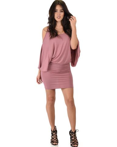 Lyss Loo Game Changer Cold Shoulder Mauve Dolman Dress - Jeanetteshus