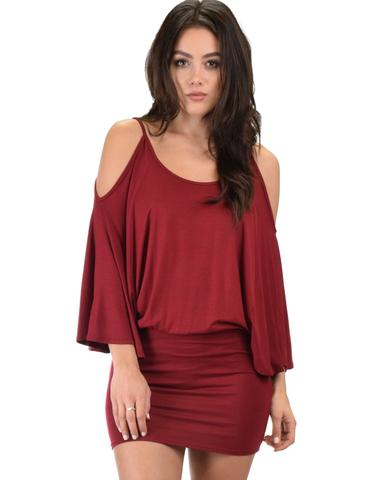 Lyss Loo Game Changer Cold Shoulder Burgundy Dolman Dress - Jeanetteshus