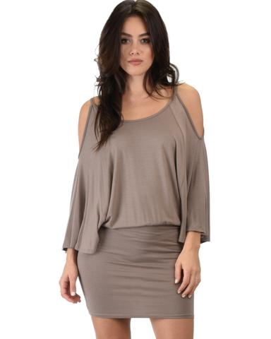 Lyss Loo Game Changer Cold Shoulder Taupe Dolman Dress - Jeanetteshus