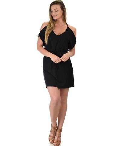 Lyss Loo Good Deeds Cold Shoulder Black Waist Tie Dress - Jeanetteshus