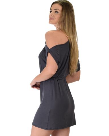 Lyss Loo Good Deeds Cold Shoulder Charcoal Waist Tie Dress - Jeanetteshus
