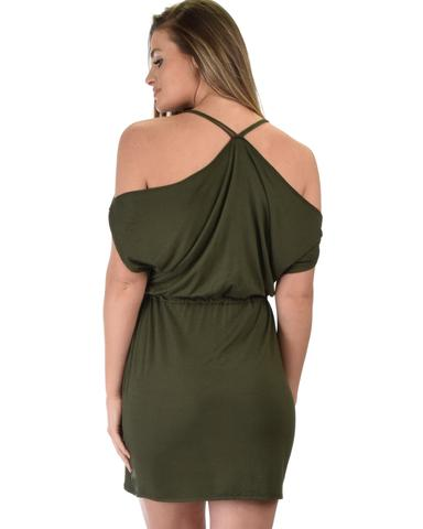 Lyss Loo Good Deeds Cold Shoulder Olive Waist Tie Dress - Jeanetteshus