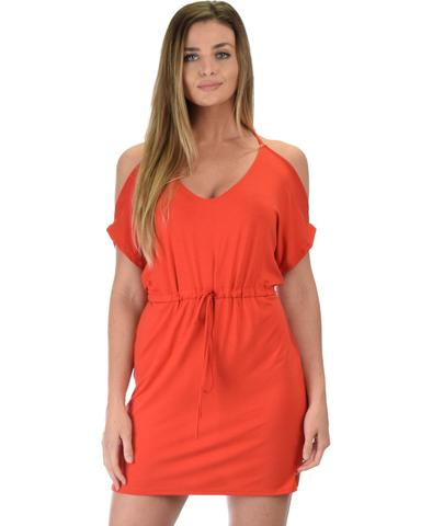 Lyss Loo Good Deeds Cold Shoulder Rust Waist Tie Dress - Jeanetteshus