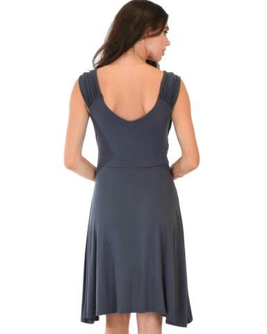Lyss Loo Little Lover Ruched Charcoal Skater Dress - Jeanetteshus