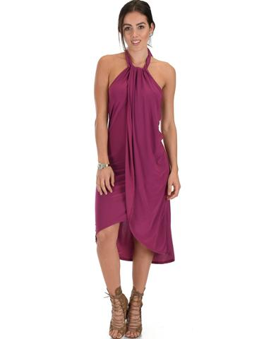 Lyss Loo Wrap Star Halter Berry Midi Wrap Dress - Jeanetteshus