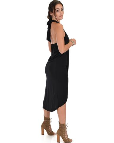 Lyss Loo Wrap Star Halter Black Midi Wrap Dress - Jeanetteshus
