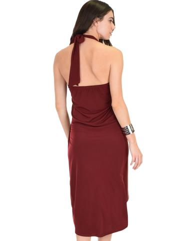 Lyss Loo Wrap Star Halter Burgundy Midi Wrap Dress - Jeanetteshus