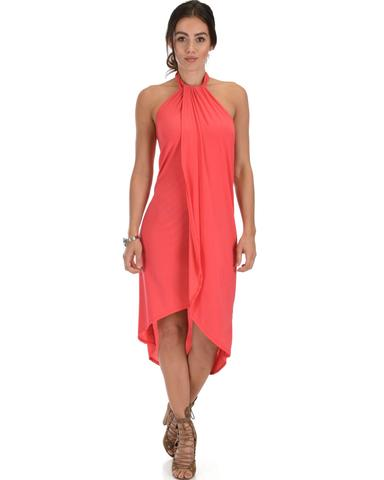 Lyss Loo Wrap Star Halter Coral Midi Wrap Dress - Jeanetteshus