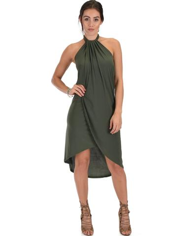 Lyss Loo Wrap Star Halter Olive Midi Wrap Dress - Jeanetteshus