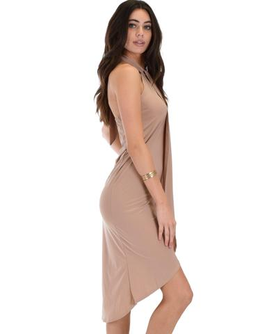 Lyss Loo Wrap Star Halter Taupe Midi Wrap Dress - Jeanetteshus