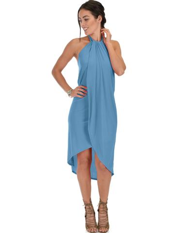 Lyss Loo Wrap Star Halter Teal Midi Wrap Dress - Jeanetteshus