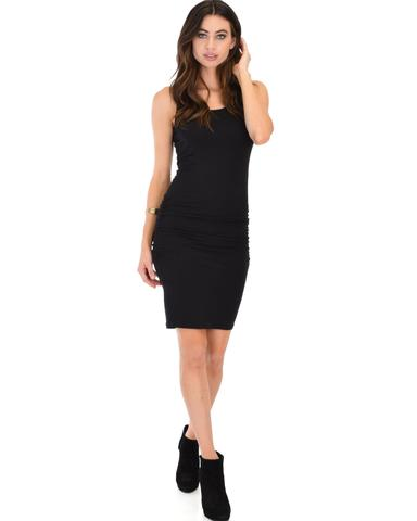 Lyss Loo Timeless Hourglass Ruched Black Bodycon Dress - Jeanetteshus