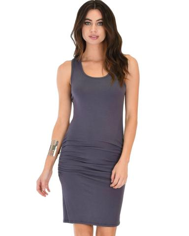 Lyss Loo Timeless Hourglass Ruched Charcoal Bodycon Dress - Jeanetteshus