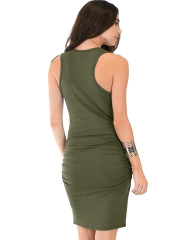 Lyss Loo Timeless Hourglass Ruched Olive Bodycon Dress - Jeanetteshus