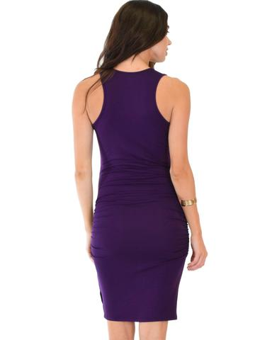 Lyss Loo Timeless Hourglass Ruched Purple Bodycon Dress - Jeanetteshus