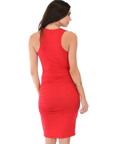 Lyss Loo Timeless Hourglass Ruched Red Bodycon Dress - Jeanetteshus