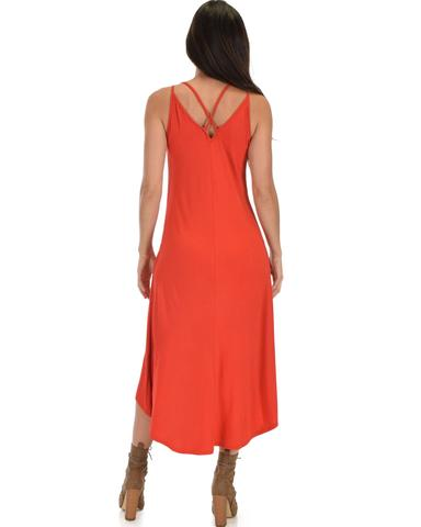 Lyss Loo All Wrapped Up Strappy Rust Wrap Dress - Jeanetteshus