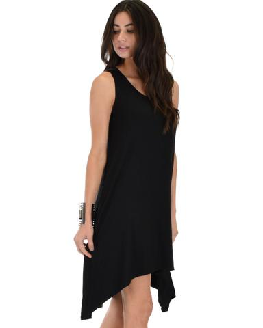 Lyss Loo Cross Back Sleeveless Black Dress With Pockets - Jeanetteshus