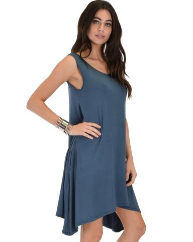 Lyss Loo Cross Back Sleeveless Blue Dress With Pockets - Jeanetteshus