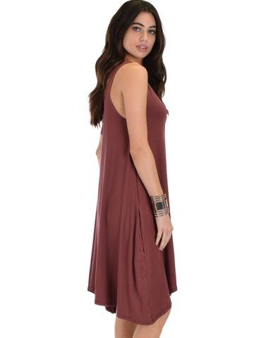 Lyss Loo Cross Back Sleeveless Marsala Dress With Pockets - Jeanetteshus