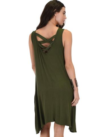 Lyss Loo Cross Back Sleeveless Olive Dress With Pockets - Jeanetteshus
