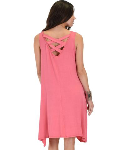 Lyss Loo Cross Back Sleeveless Pink Dress With Pockets - Jeanetteshus