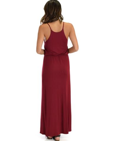Lyss Loo Cherish The Day Burgundy Maxi Dress With Cinched Waist - Jeanetteshus