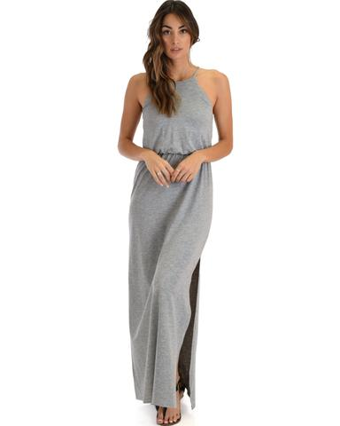 Lyss Loo Cherish The Day Grey Maxi Dress With Cinched Waist - Jeanetteshus