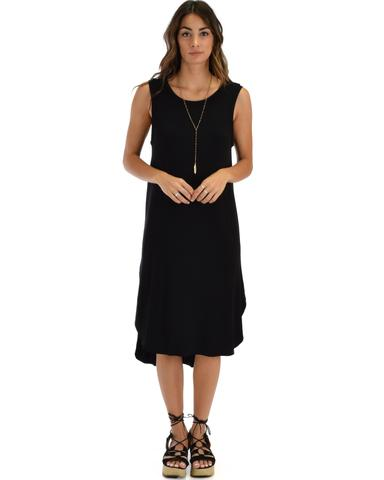 Lyss Loo Mood And Melody Side Slit Black T-Shirt Dress - Jeanetteshus