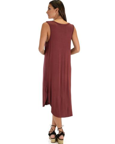 Lyss Loo Mood And Melody Side Slit Marsala T-Shirt Dress - Jeanetteshus