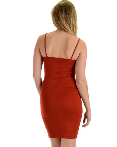 Lyss Loo Hug My Figure Bodycon Rust Midi Dress - Jeanetteshus