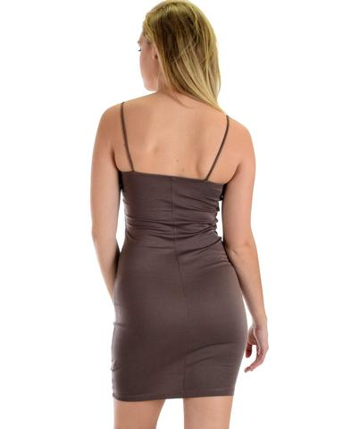 Lyss Loo Hug My Figure Bodycon Taupe Midi Dress - Jeanetteshus